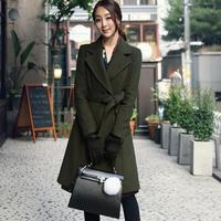 Long Wool Coats Womens Overcoat Female 2017 Autumn Army Green Long Sleeve Woolen Coats Womens Outerwear