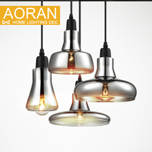 vintage glass pendant light grey color clear color amber color pendant lamps with bulbs 110V 220V