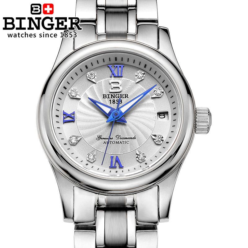 Suisse BINGER Femmes de Montres De Luxe 18 k Or Mécanique Bracelets complet en acier inoxydable Horloge Femelle Montres B-603L