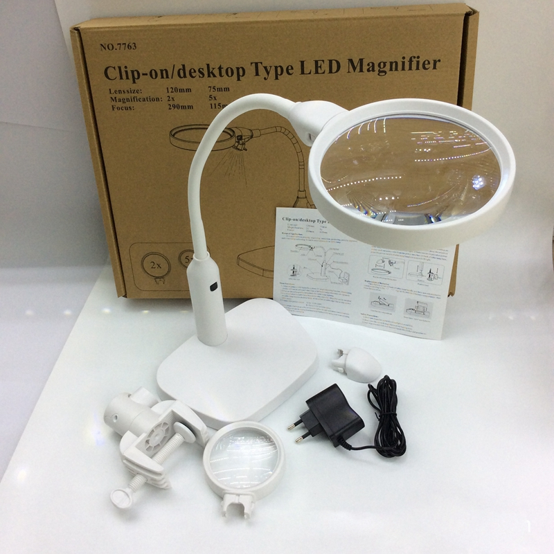 6c95422df87 2X 5X Desktop Lamp Magnifier with Clamp Base Holder Third Hand Magnifying  Glass Illuminated Magnifier for Reading and Repairing-in Magnifiers from  Tools on ...