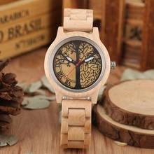Reloj Natural de madera de bambú para mujer, de cuarzo, de vestir, de madera