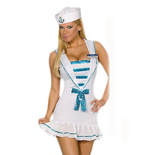 European and US White Cotton Spandex Sexy Sailor Cosplay Lingerie Sleeveless Female Uniform With Bow BI20