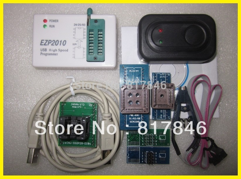 Livraison gratuite EZP2010 programmeur haute vitesse USB SPI programmeur support 24 25 93 EEPROM flash bios puce + IC pince + 5 adaptateur