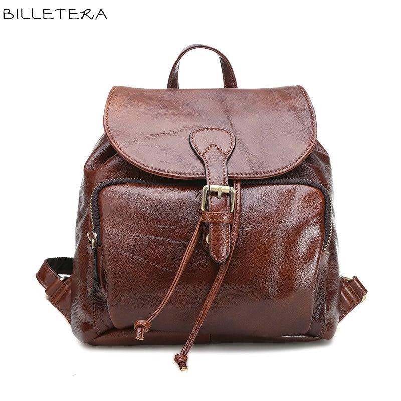 ФОТО BILLETERA Vintage Fashion Casual Genuine Leather Women Bucket Backpacks Small Cover Drawstring Backpack School Bag Ladies Bags