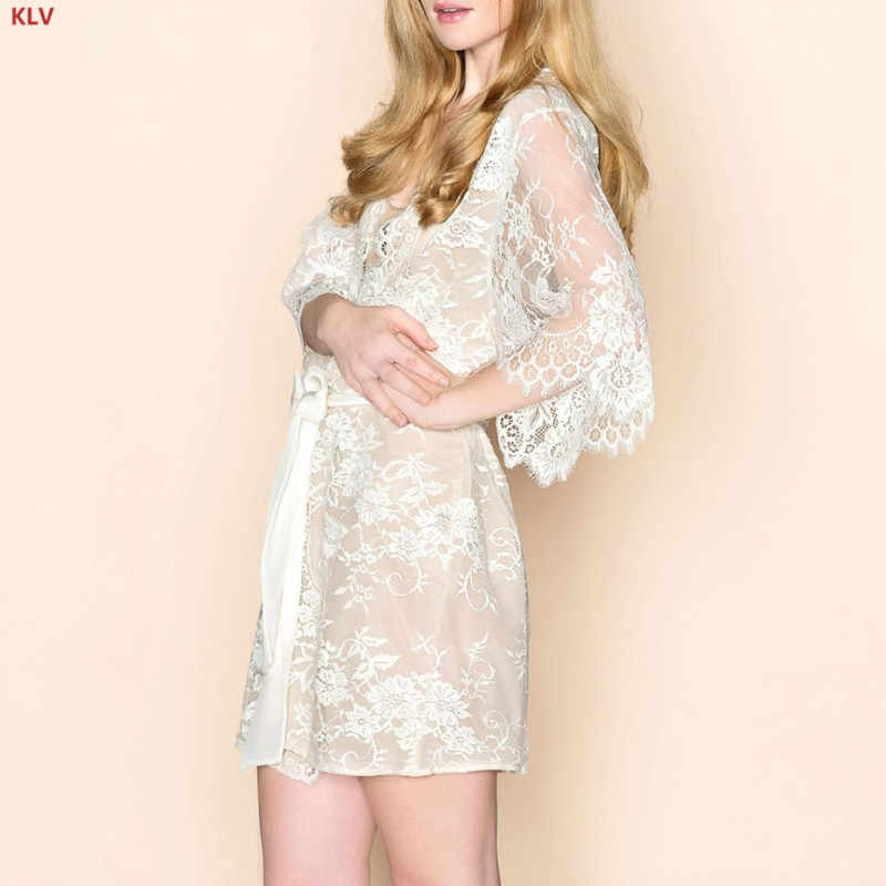 d39f5a3471352 KLV Womens Eyelash Lace Sleepwear Gown Bride Wedding Lingerie Babydoll  Erotic Kimono