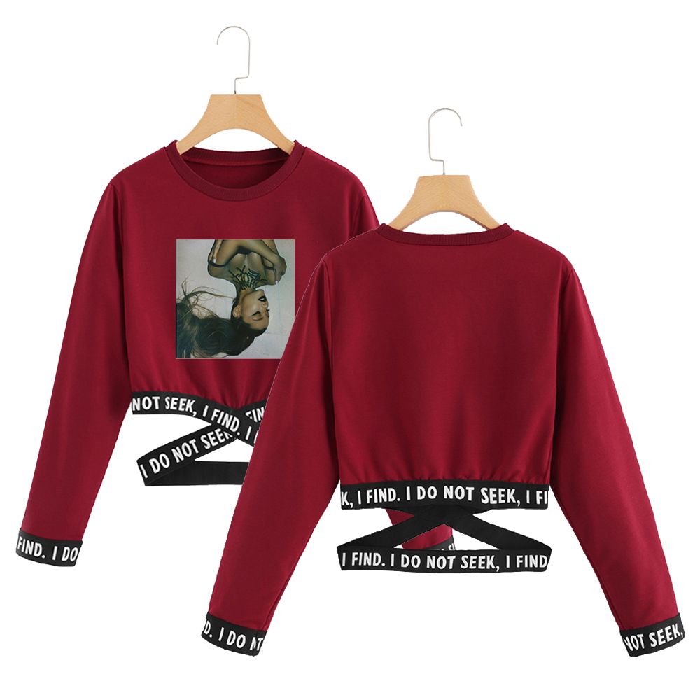 Ariana Grande Kpop Crop Sweatshirt O-neck Fashion Short Sweatshirts Sexy Hip Hop Print Oversize Ariana Grande Clothes For Women