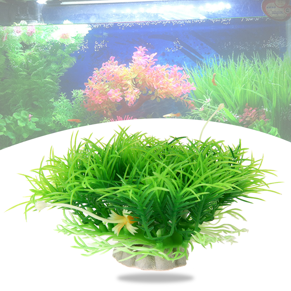 Underwater aquarium artificial plants grass decor for Artificial fish pond plants