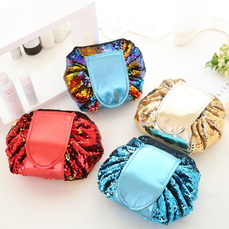 Cosmetic Bag Women Travel Storage Package Lady Magic Portable String Packing Bag Pouch Blink Drawstring Double Side Paillette 2016 luxury relogio masculino day week month tourbillon auto mechanical watch wristwatch valentine s day gifts box free ship