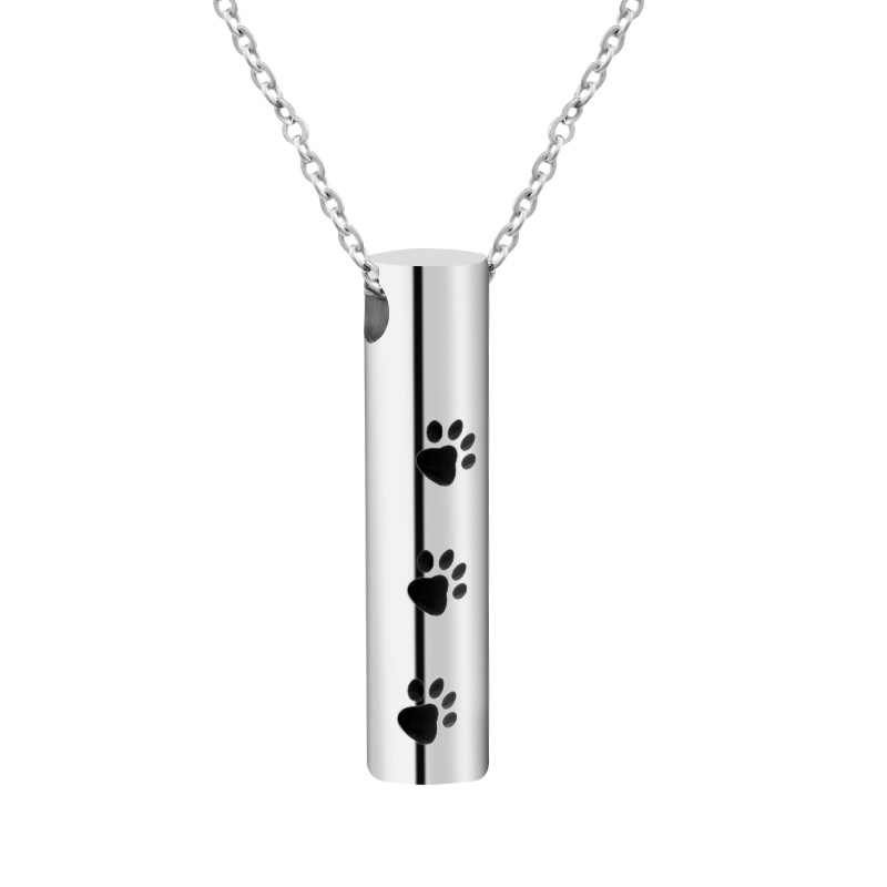 Dog  Cremation Urn Necklace Pendant Stainless Steel Necklace  Bottle Ash Holder Mini  Memorial Jewelry