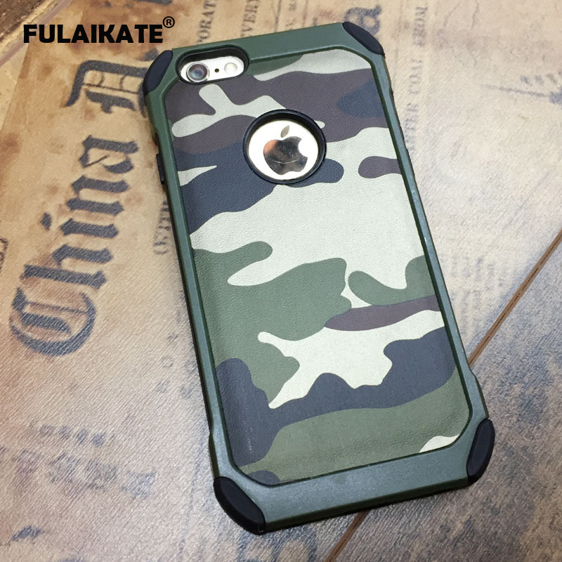 "FULAIKATE Army Green Camouflage Case for iPhone 6 Plus TPU+PC Anti-Knock Back Cover for iPhone 6s Plus 5.5"" Phone Cases"