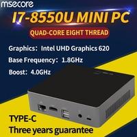 Intel 8th Gen Core i7 8550U мини ПК настольный компьютер оконные рамы 10 неттоп NUC barebone системы Kabylake HTPC UHD620 графика 4k WiFi