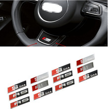 2pcsHOT For Audi A3 A4 A5 A6 Q3 Q5 Q7 TT RS SLINE styling car interior accessories steering wheel protection decorative stickers