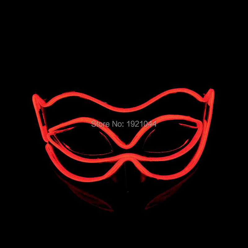 EL Luminous Color Mask Half Face PVC Shining Flash LED Light Mask Cosplay Mask Powered by 2-AA batteries For Party Decoration