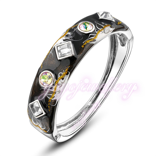 Mytys Black Color Bangle Alloy Jewelry Vintage Crystal Enamel Womens Gift New B913