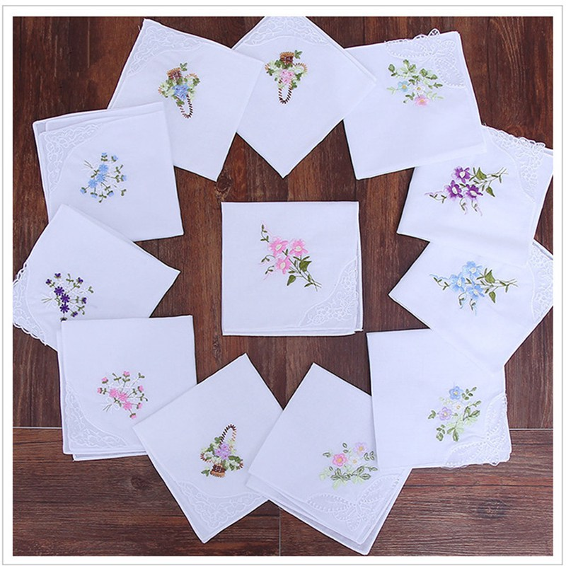 5Pcs Womens Ladies Embroidered Lace Hankies Butterfly Hankerchiefs BBB0358