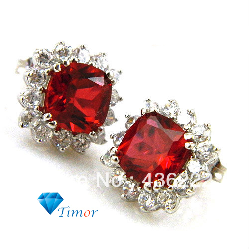 9ct Whole Design High Quality Pigeon Blood Red Ruby Earrings Studs 925 Sterling Silver