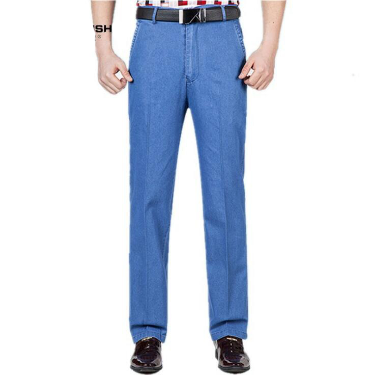 #1428 Dad jeans men Straight Loose Middle-aged Business jeans homme Smart Casual High waist jeans Loose Stretch Plus size 30-46