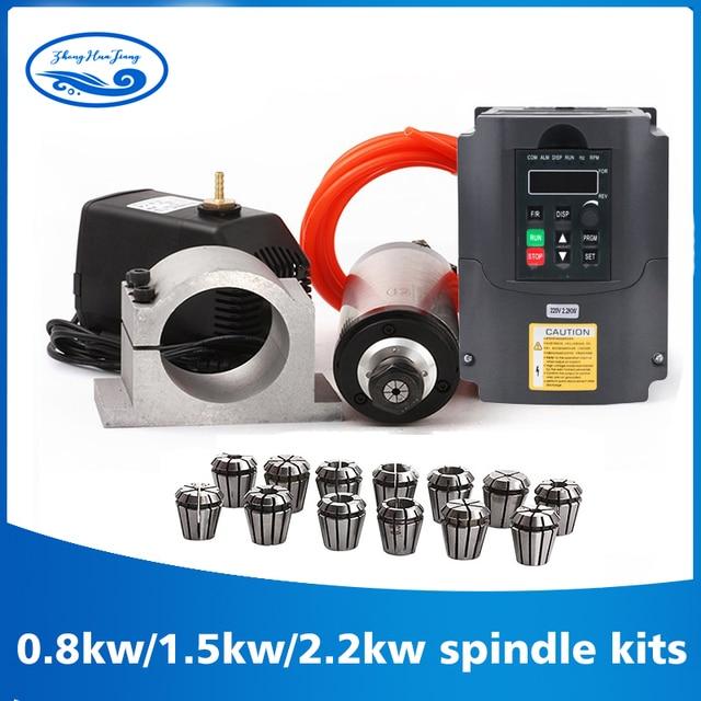 2.2kw 수냉식 스핀들 키트 CNC 스핀들 모터 + 2.2KW VFD + 80mm 클램프 + 워터 펌프/파이프 + 13pcs ER20 for CNC 라우터
