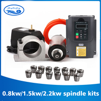2.2kw water cooled spindle kit CNC spindle motor + 2.2KW VFD + 80mm clamp + water pump/pipe +13pcs ER20 for CNC Router
