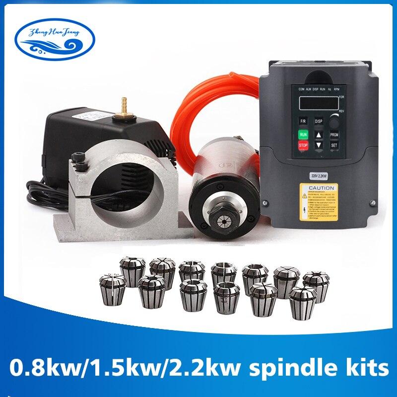 Kit CNC motor spindle refrigerado a água do eixo 2.2kw + VFD + 80 2.2KW milímetros braçadeira + bomba de água/tubulação + 13 pcs ER20 para Router CNC