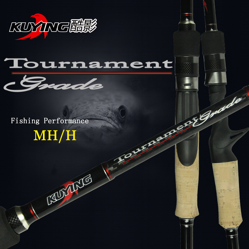 KUYING 2.1M Tournament Double tips MH H super Light Casting Spinning optional Lure Fishing Rod Pole Stick free shipping