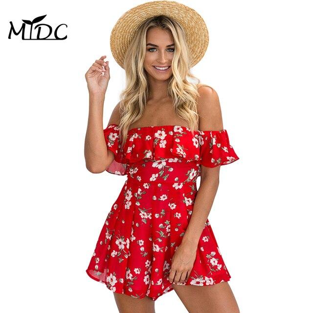 MYDC off the shoulder High waist chiffon ruffles print jumpsuit overalls women sexy playsuits leotard Boho summer pleated romper