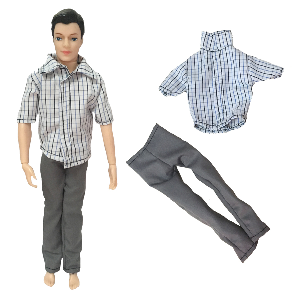 1Clothes+1Pants Informal Put on Plaid Doll Garments Jacket Pants Trousers For Barbie Ken Doll