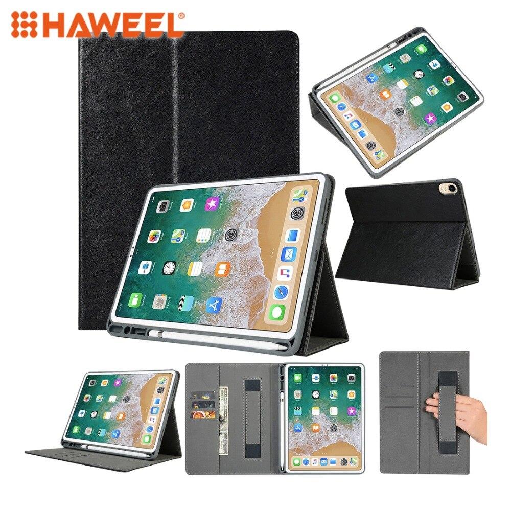 HAWEEL Top-grain Leather Case Protetora para iPad Pro 11 polegada (2018), com Pen Slot & Holder & Cartão Slots & Wallet