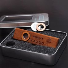 Popular Wooden Woodman Kazoo Orff Instruments Ukulele Guitar Partner Wood Harmonica With Metal Box(China)