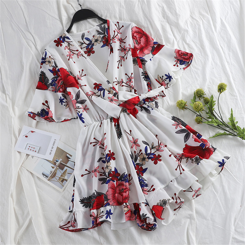 Summer Tie Bow V Neck Chiffon Playsuits Women Floral Print Jumpsuits Female Short Sleeve Rompers Casual Wide Leg Bodysuit AB1431