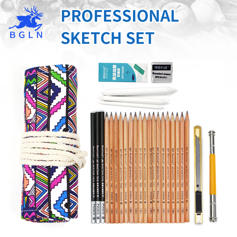 36 Holes National Bag+Marco Pencil+Marco Charcoal+4B Solf Eraser +Kneaded Eraser+Double-edged Pencil Extender+Paper Eraser Art