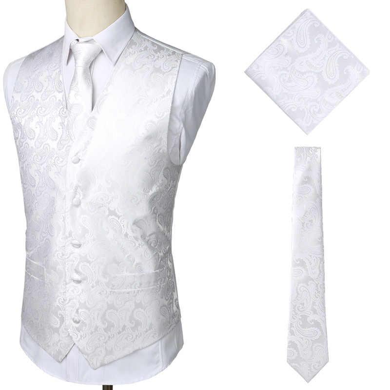 メンズホワイトウェディングペイズリーのチョッキベストポケットスクエアネクタイスーツハンカチセット 2019 ファッションジャカードタキシードスーツのベストの男性