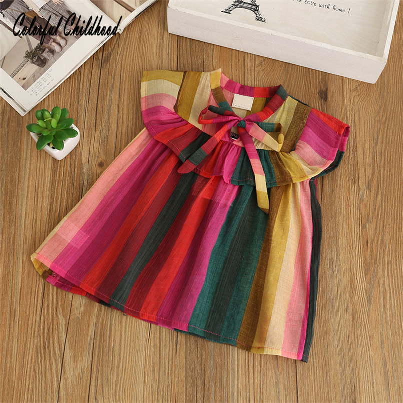 summer New fashion Kids T Shirt toddle rainbow Candy Color short Sleeve Baby Girls blouses Children Pullovers Tee Girl Clothes