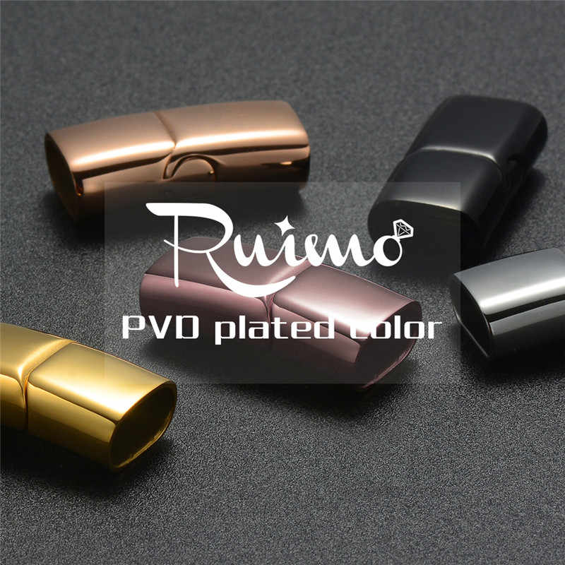 RUIMO Black Gold Magnetic Clasps 316l Stainless Steel 10mm 12mm Flat Clasps For Bracelets