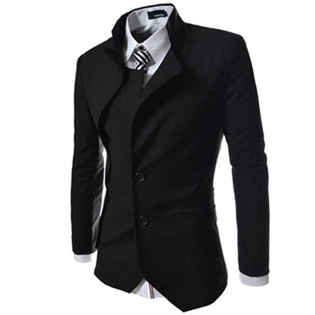 2015 Nueva Llegada Chaqueta de Los Hombres de Corea Del Diseño de Moda Para Hombre Negro Ajuste delgado Falso de Dos Piezas Chaqueta de Traje de Otoño Casual Brand Blazer