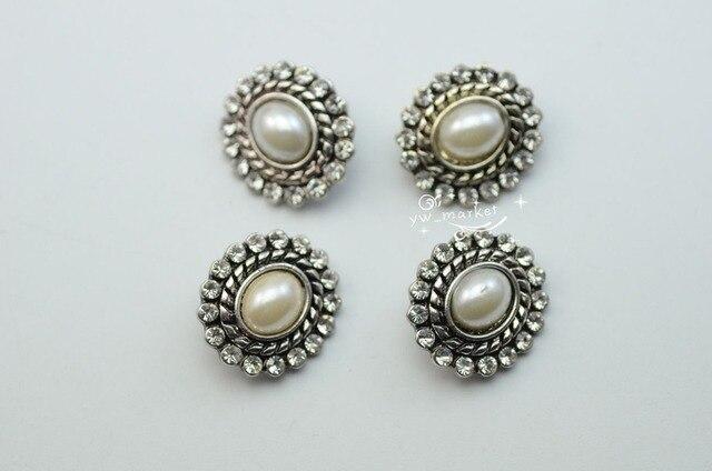 10 pz tasto del rhinestone costume dress applique vintage argento