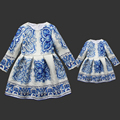 Spring print mom and daugther long pleat one-piece brand kids skirts family look matching clothes mother and girls party dresses