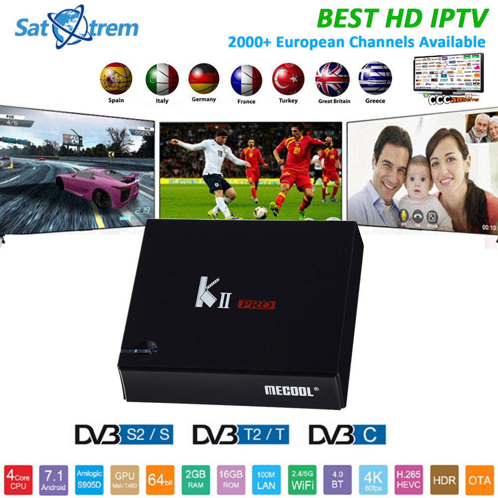 MECOOL KII Pro TV Box With 1 Year IPTV Cccam Europe Arabic Subscription DVB-S2 DVB-T2 Android 7.1 Amlogic S905D IPTV Set Top Box mecool kiii pro dvb t2 s2 tv box rii i8 black