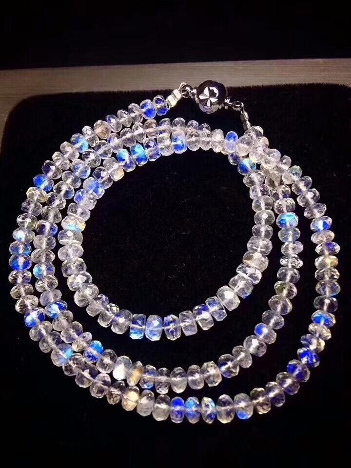 Véritables lumières bleues naturel pierre de lune Bracelets femmes femme extensible 7mm cristal boulier perles Bracelet collier AAAAAA