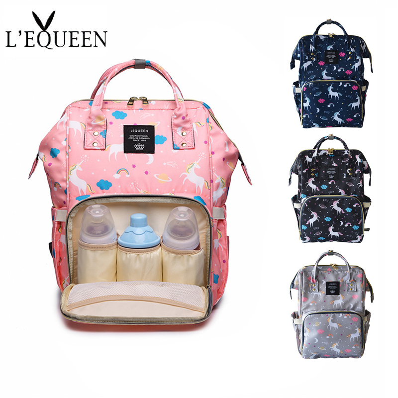 af4928b4b23b LEQUEEN Fashion Mummy Diaper Bag Backpack Baby Care Bag Large Capacity 4  colors Unicorn Travel Nappy