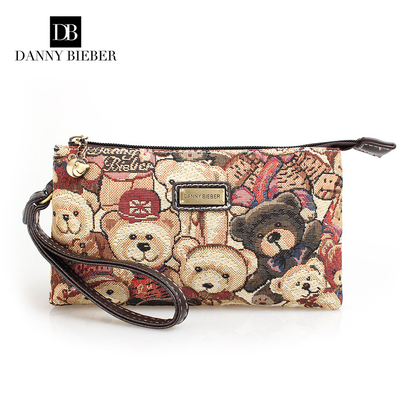 Ms hand bag 2016 new European and American style bear canvas phone bag zipper zero wallet