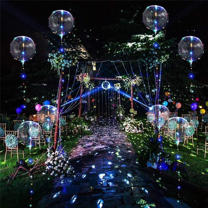 18Inch 3M Luminous Led Balloon LED Air Balloon String Lights Round Bubble Helium Balloons Kids Toy Wedding Party Decoration