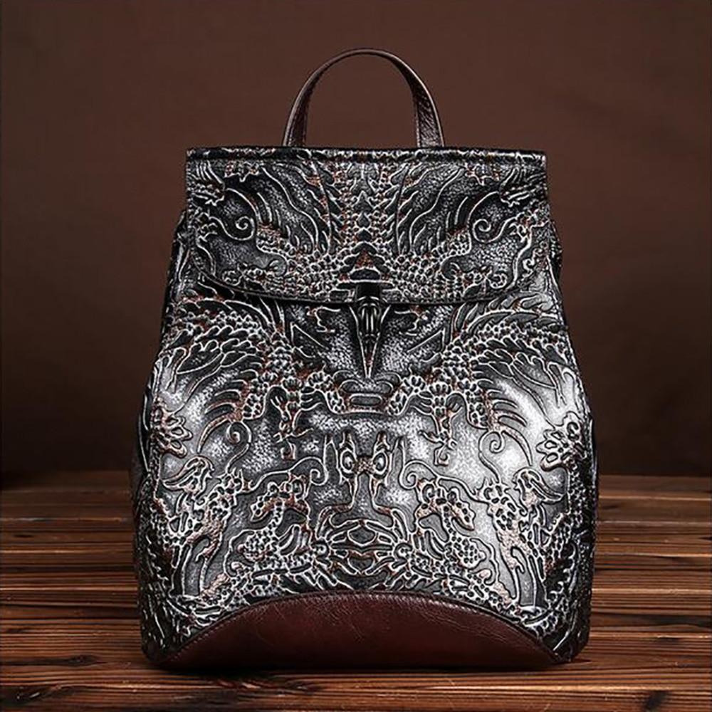 High Quality Genuine Embossed Leather Women Backpack Vintage National Style Daypack School Bag Knapsack Travel Casual Rucksack
