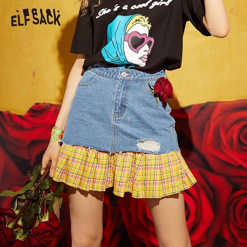 ELF SACK Cotton Hole Plaid Patchwork Women Skirts Stylish Streetwear Denim A Line Female Mini Skirt