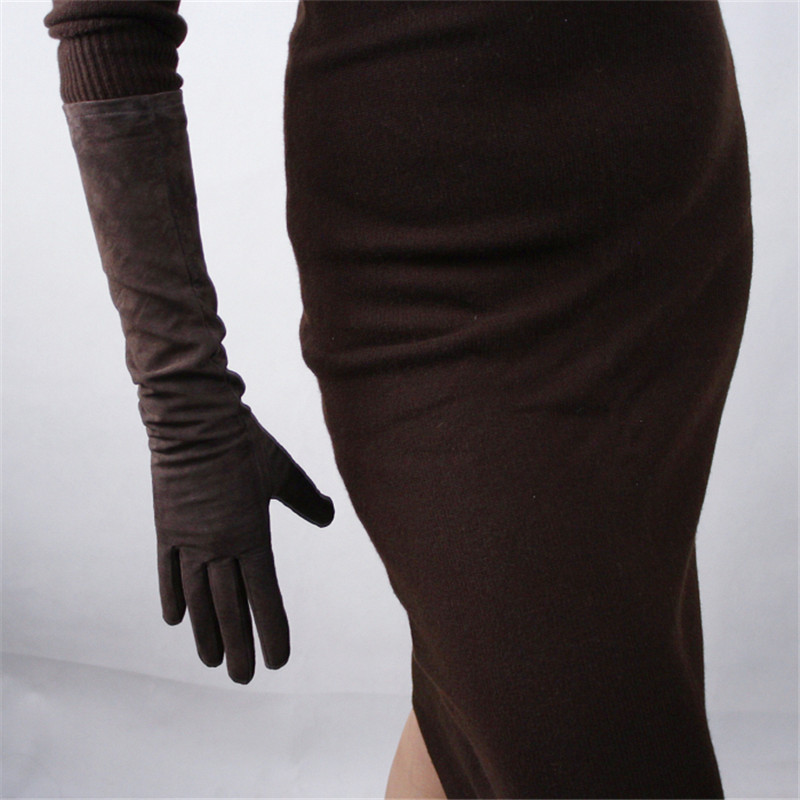 44cm Real Leather Suede Gloves Long Section Pure Sheepskin Scrub Thin Plush Lined Coffee Dark Brown Female Gloves Straight WJP08