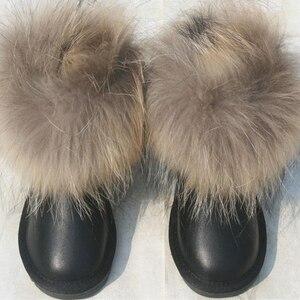 Image 4 - Çocuk çizmeleri kız erkek ayakkabı kalın sıcak hakiki deri çocuk kar ayakkabıları moda gerçek kürk yürümeye başlayan çocuk çizmeleri kışlık botlar
