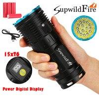 2019 Nova Alta Qualidade Supwildfire 50000LM 15 x XML T6 Poder LEVOU Display Digital Caça Lanterna Drop Shipping|Lanternas| |  -