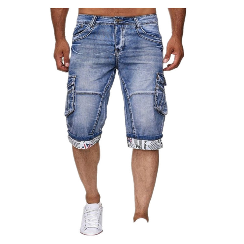 KIMSERE Men Summer Cargo Denim Shorts With Multi Pockets Workwear Short Jeans For Male Roll Up Washed Blue Size S-XXXL