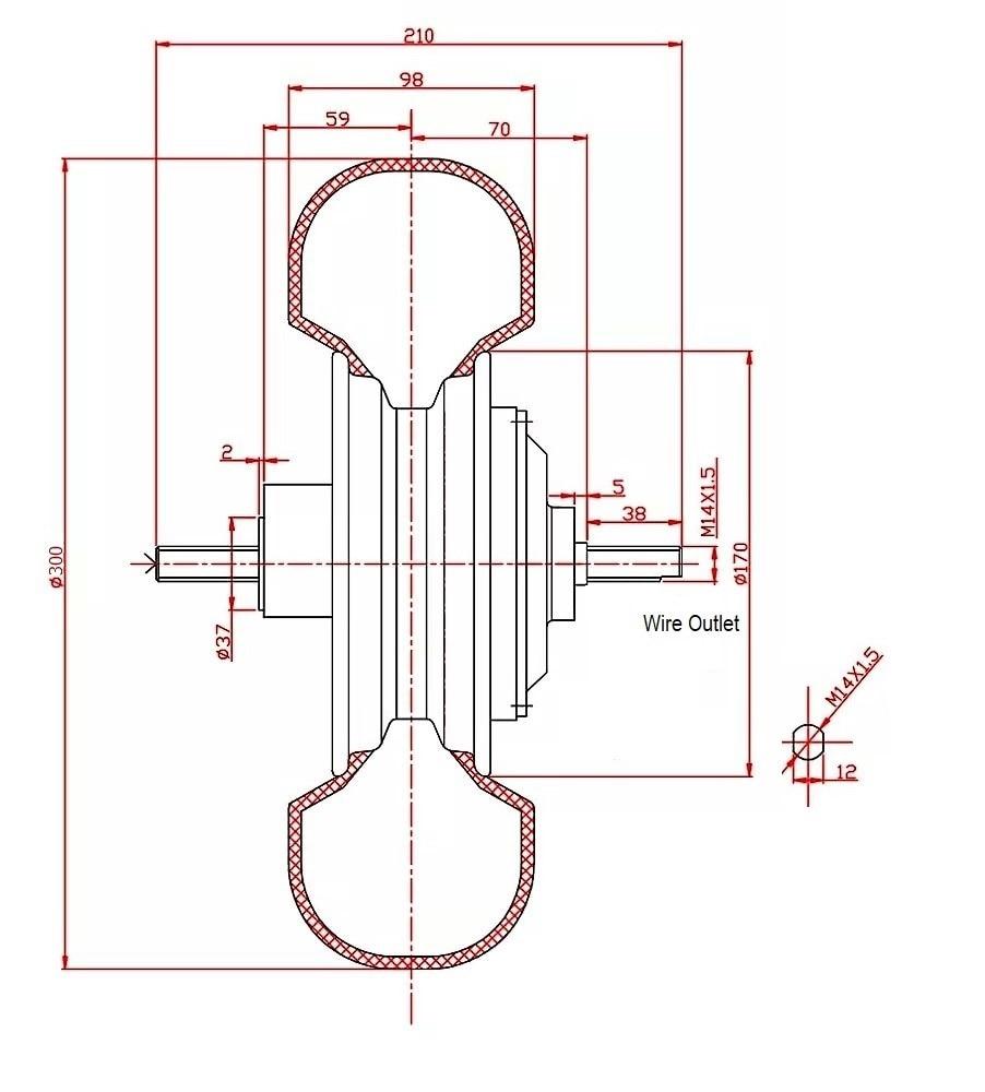Drawing of 13 inch hub motor