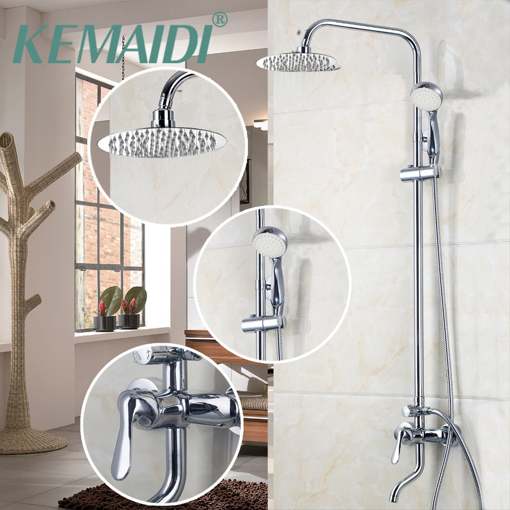 KEMAIDI Bathroom LED Polished Chrome Waterfall Rain Shower Faucet & Hand Shower Wall Mounted Bathroom Faucet And Shower Set free shipping high quality bathroom toilet paper holder wall mounted polished chrome